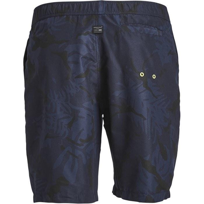 Zwemshorts donkere print, navy