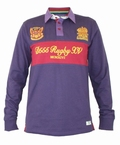 Polo lange mouw 'Rugby XV', grape