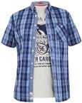 D555 Shirt GENOA met T-shirt (set), blauw geruit - 6XL