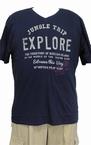 Kitaro t-shirt met V-hals 'EXPLORE', navy