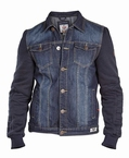 CURTIS denim jack met afn. capuchon, denim navy