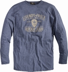 Replika t-shirt lange mouw 'Legends of Rock', blauw melée