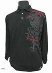 Poloshirt lange mouw 'Rock Rebel', zwart