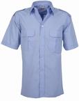Pilotenhemd korte mouw, effen licht blauw