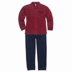 Doorknoop pyjama m. lange broek, wijnrood