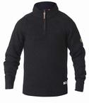 D555 Soepele trui gebreid m. dambordreliëf, zwart