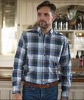 GCM Overhemd geblokt lange mouw, navy-blauw-bruin