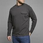 Replika t-shirt met lange mouwen+borstzakje, antraciet