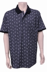 Meantime Polo all-over print met borstzakje, navy
