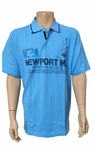 Meantime Polo pique print Newport, licht blauw