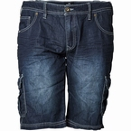 Replika denim shorts m. elastische boord, blue wash