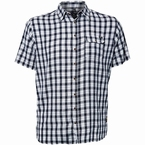 Replika overhemd korte mouw, wit/navy geruit