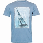 North 56°4 T-shirt Sailing print, licht blauw