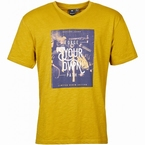 Replika T-shirt m. V-hals 'Forge your own path', mosterd