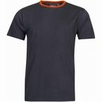 North 56°4 T-shirt print uni m. contrastboord, zwart
