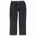 Jogging jeans m. stretch + elastisch boord, zwart