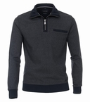 Casa Moda Sweatshirt m. rits en borstzakje, grijsblauw