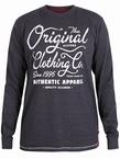 D555 T-shirt lange mouw 'Original', d.grijs