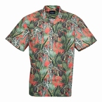 North 56°4 zomers shirt m. planten print, groen/oranje
