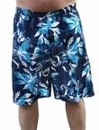 Zwemshort bloemengolf, aqua-blauw