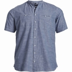 North 56°4 Chambray shirt m. China boord, blauw