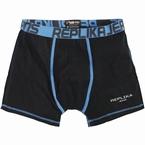 Replika boxershort m. stretch, zwart/blauw
